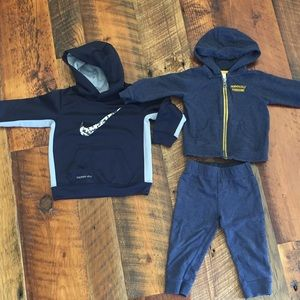 Nike hooded sweatshirt & Carter's Sweatsuit- 18 M